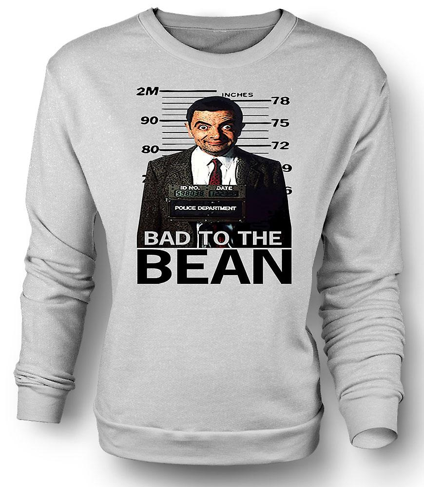 Mens Sweatshirt Mr Bean Bad To Bean Mug Shot - Comedy