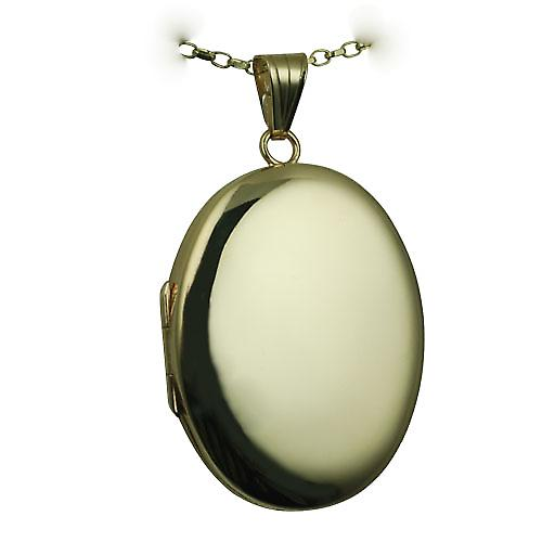 9ct Gold 35x26mm plain oval Locket with a belcher Chain 16 inches Only Suitable for Children