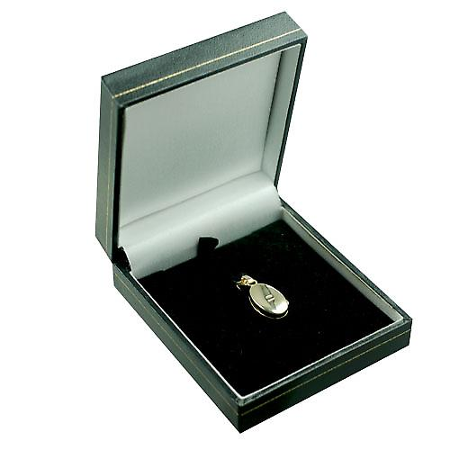 9ct Gold 18x11mm plain oval Locket