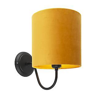 QAZQA clásico de pared lámpara Combi negro con sombra 20/20/20 terciopelo ocre oro