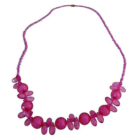 Girls Trendy Gift Fashion Fuchsia Beads Necklace