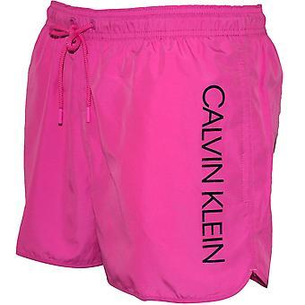 Calvin Klein lado Logo Athletic corte Swim Shorts, Phlox rosa