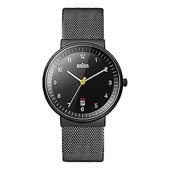 Braun analog wrist watch, Unisex stainless steel Black