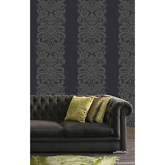 Damask Wallpaper Quinetet Black Traditional Floral Arthouse