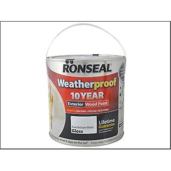 Ronseal Weatherproof 10 Year Exterior Wood Paint Brilliant White Gloss 2.5 Litre