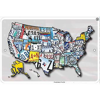 USA Licence Plates Map embossed metal sign    (ga)