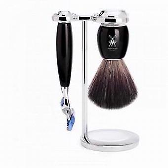 Muhle VIVO Black Fusion Razor Set with Synthetic Fibre Brush