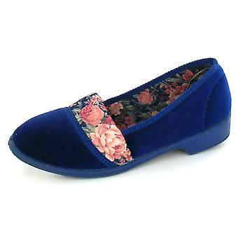 Spot On Floral Lined Velour Slipper 'Tina'