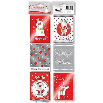 Uavgjort på folie ut Christmas Tags trykte moderne søte presenterer gaver pakker med 48 - (TCQR)