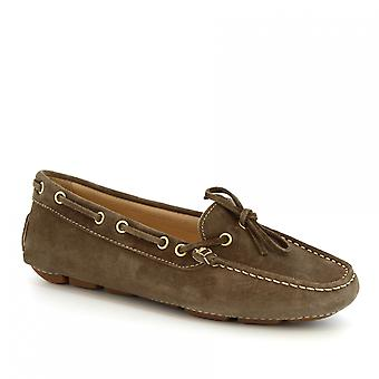 Leonardo Shoes women's handmade boat mocassins in gray suede and calf leather