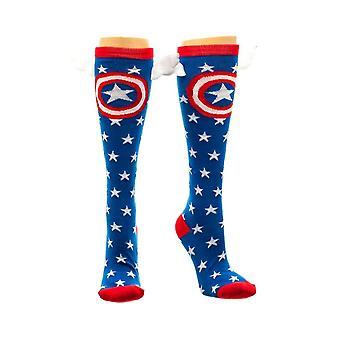 Marvel Captain America Star Knee High Socks with Wings