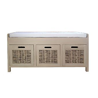 Rebecca Furniture Bench Chest of drawers Beige 3 drawers upholstered seating kitchen lounge