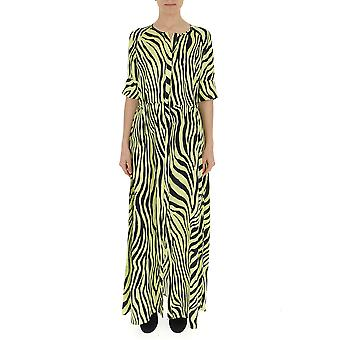 Laneus Yellow/black Silk Dress
