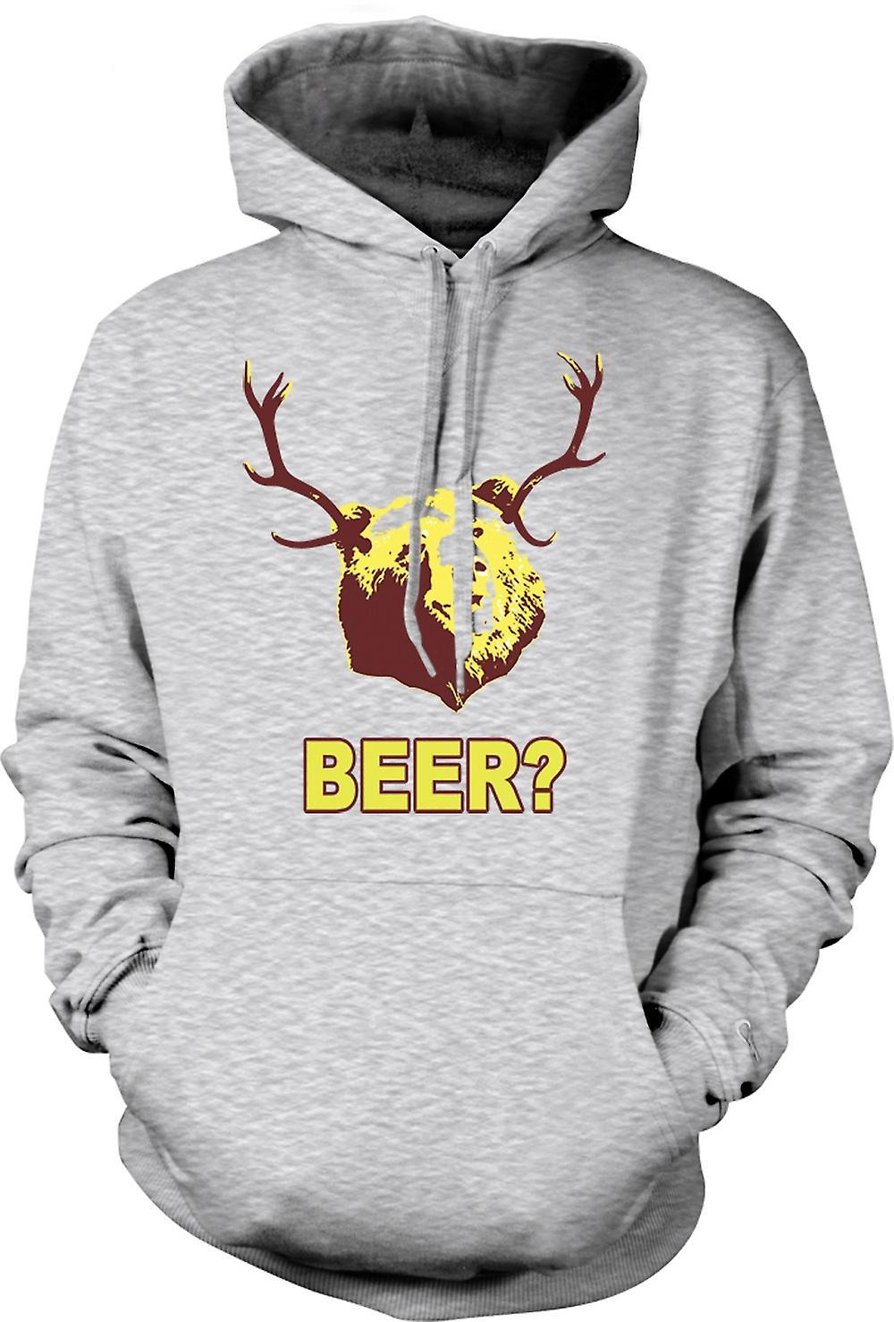 Felpa con cappuccio uomo - birra orso divertente bere