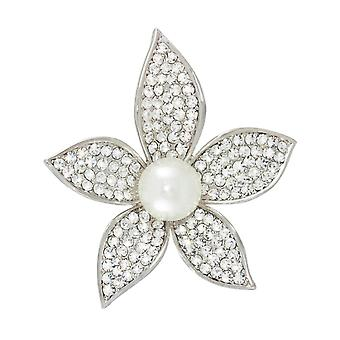 Eternal Collection Giselle Crystal Faux Pearl Floral Brooch