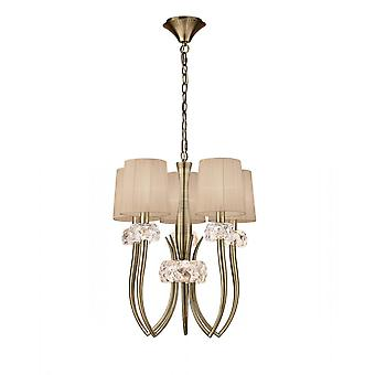 Mantra M4632AB Loewe Slim Pendant 5 Light E27, Antique Brass With Soft Bronze Shades