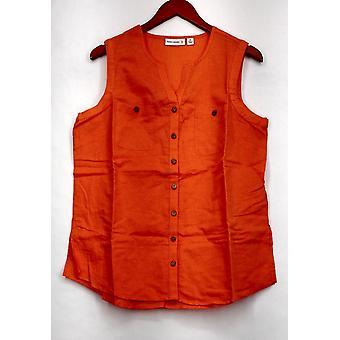 Susan Graver Top Linen Blend Sleeveless Button Front Shirt Orange A265837