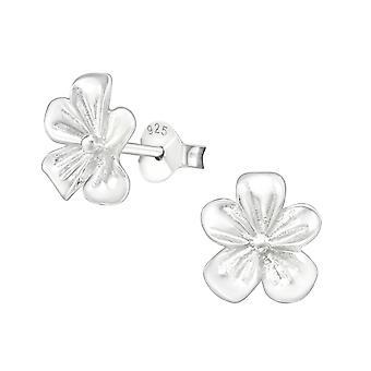 Flower - 925 Sterling Silver Plain Ear Studs - W5979X
