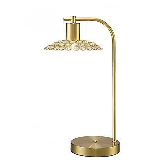 Diyas Ellen 1 Light Table Lamp Satin Brass/Crystal