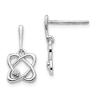 925 Sterling Silver Polished Gift Boxed Rhodium-plated White Ice Oval Diamond Post Earrings