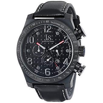 Joshua & Sons JS-14-BK analog quartz wrist watch Mens, leather, black