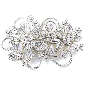 Swarovski Crystal Aster Floral Spray Hair Clip Bridal Hair Accessories