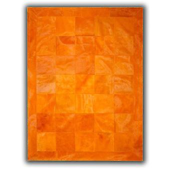 Rugs - Patchwork Leather Cubed Cowhide - Plain Orange with Border