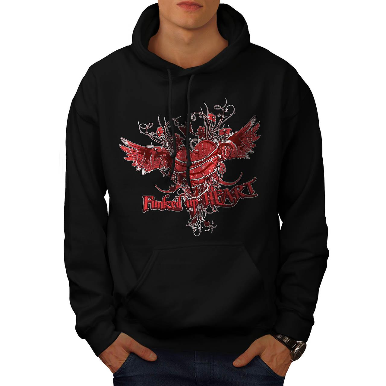 Funked Up hart Love Thorn Rose mannen zwarte Hoodie | Wellcoda