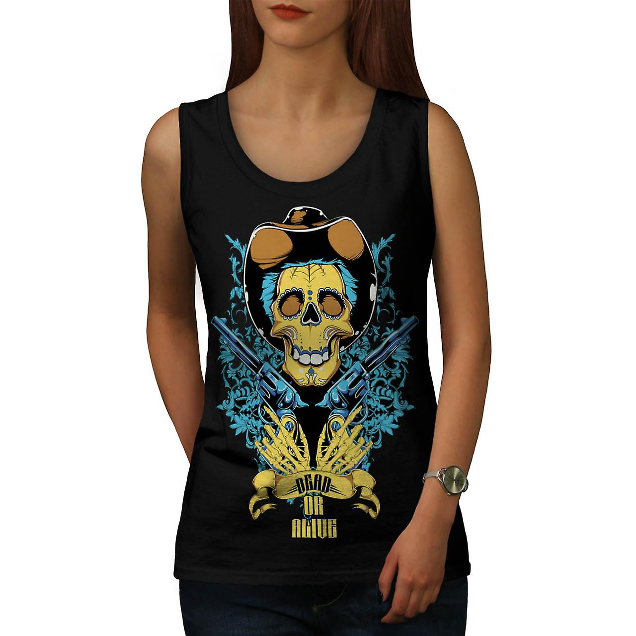 Dead Or Alive Skull Cowboy Gun Women Black Tank Top | Wellcoda