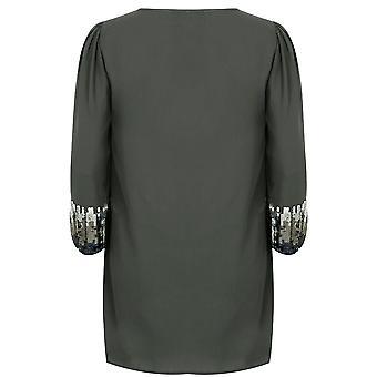 PRASLIN Grey Shift Dress With Sequin Shimmer Detail
