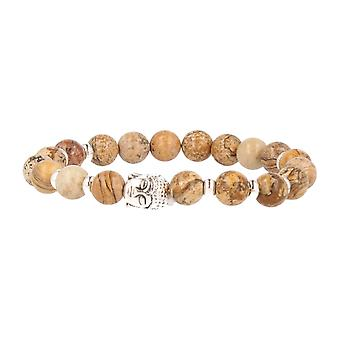 FUNKYPEARLS fashion jewelry stone Beads Bracelet 20 cm Brown with silver Buddha