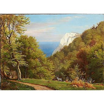 Carl Frederic Aagaard - Summer day on the cliffs Poster Print Giclee