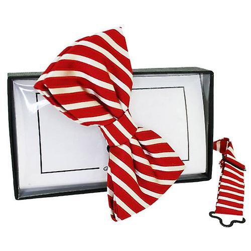 David Van Hagen Striped Silk Bow Tie - Red/White