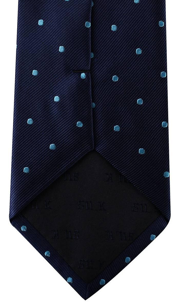 David Van Hagen Polka Dot Tie - Navy/Blue