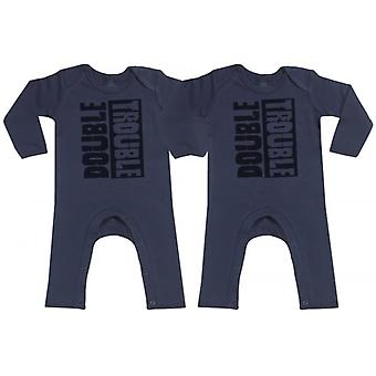 Spoilt Rotten Double Trouble Navy Baby Footless Romper Twins Set