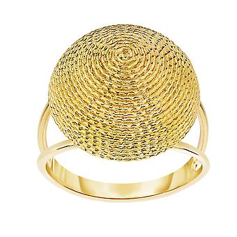 14K Yellow Gold Round Graduated Top Textured Dome Double Row Ring