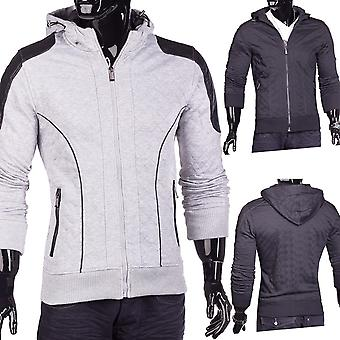 Quilted hooded jacket hooded sweatshirt hoodie with leather applications Canada