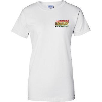 Ungarn Grunge land navn Flag effekt - damer brystet Design T-Shirt