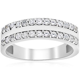 3/4 ct ダイヤモンド ダブル行結婚指輪 14 K ホワイトゴールド