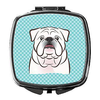 Checkerboard Blue White English Bulldog  Compact Mirror