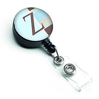 Letter Z eerste Monogram - blauwe strepen intrekbare Badge Reel