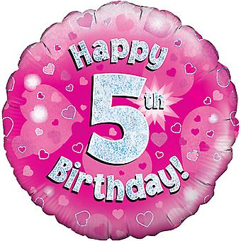 Oaktree 18 Inch Happy 5th Birthday Pink Holographic Balloon