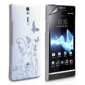 Yousave accesorios Sony Xperia S IMD mariposa caso - blanco-plata