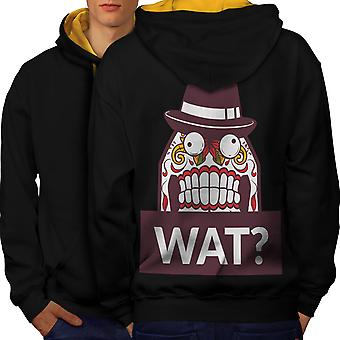 Skull What Funny Men Black (Gold Hood)Contrast Hoodie Back | Wellcoda