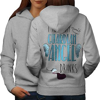 Guardian Angel Drinks Women GreyHoodie Back | Wellcoda