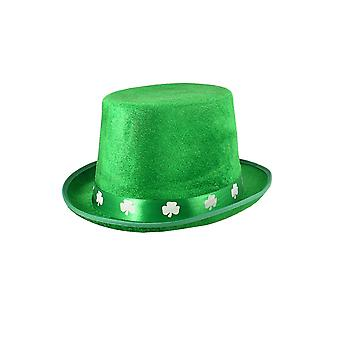 St Patricks Day Felt Top Hat with Shamrock Band Adult Fancy Dress Accessory