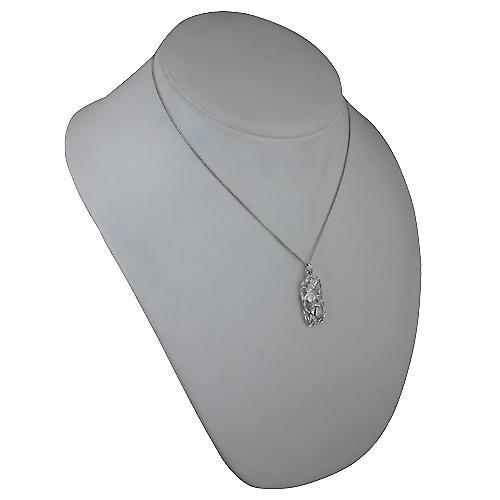 Silver 33x17mm Aquarius Zodiac Pendant with a curb Chain 18 inches