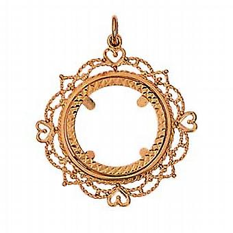 9ct Gold 32mm Half Sovereign mount with a diamond cut Bezel Pendant