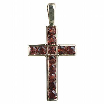9ct Gold 25x16mm Apostle's Cross set with 12 Garnets