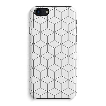 iPhone 7 Full Print Case (Glossy) - Cubes black and white